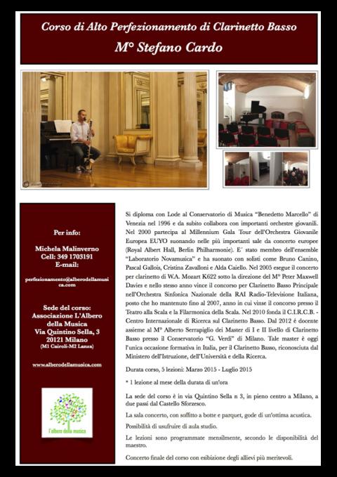 Corso di Alto Perfezionamento di Clarinetto Basso - M° Stefano Cardo