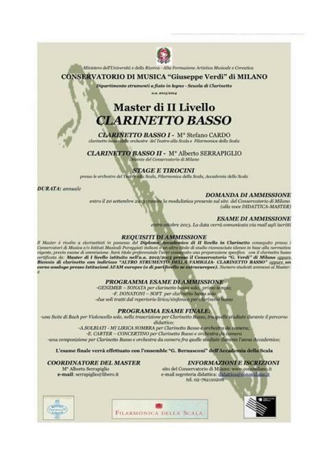 Master di II livello di clarinetto basso